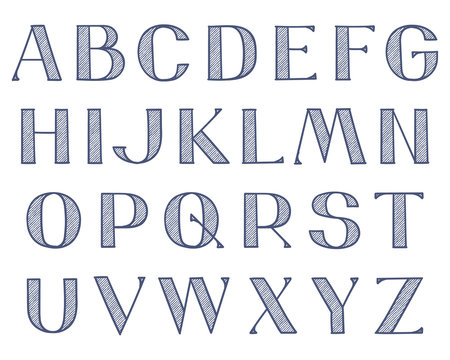 Wide decorative hand-drawn type. Capital Latin letters with hatching texture and outlines, single color.