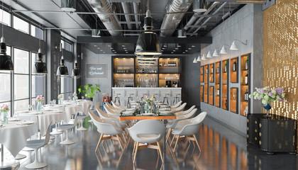 3d Illustation - Restaurant mit Bar, Tischen, Stühlen und großen Fenstern Fototapete