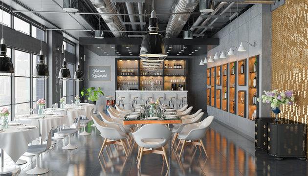 3d Illustation - Restaurant mit Bar, Tischen, Stühlen und großen Fenstern