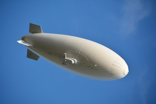 Low Angle View Of Blimp Against Clear Blue Sky