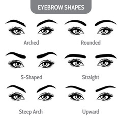 Eyebrow shapes with eyes. Various types of eyebrows. Trimming. Vector illustration with different thickness of brows. Set with captions.