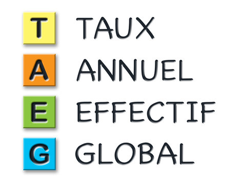 TAEG initials in colored 3d cubes with meaning in french language