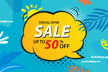 Summer sale emails and banners templates. Vector illustrations for website, posters, brochure, voucher discount, flyers, newsletter designs, ads, promotional background.