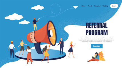 Referral marketing landing page. Loudspeaker business announcements of referral customer loyalty program. Vector web page partnership base friendly customers concept