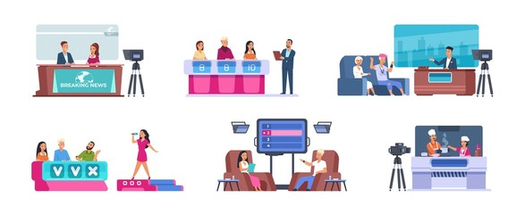 Television show. Cartoon entertainment TV with news, talent singer with jury, music, cooking, evening show and quiz. Vector set flat images scene with participate entertainment people