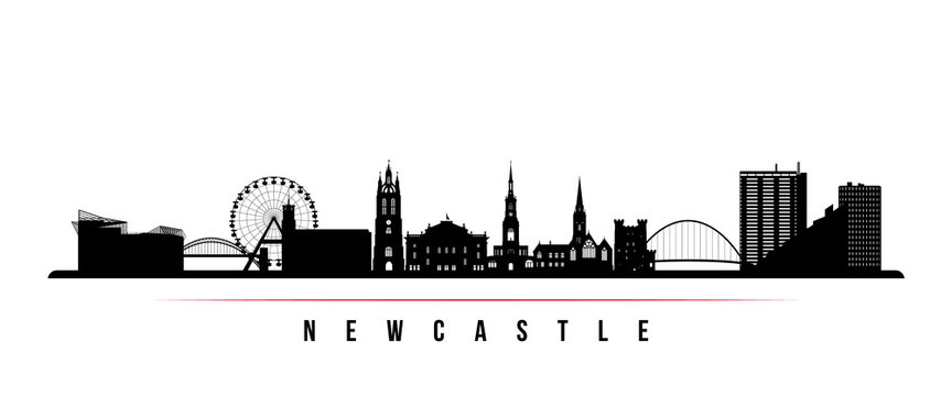 Newcastle skyline horizontal banner. Black and white silhouette of Newcastle, United Kingdom. Vector template for your design.