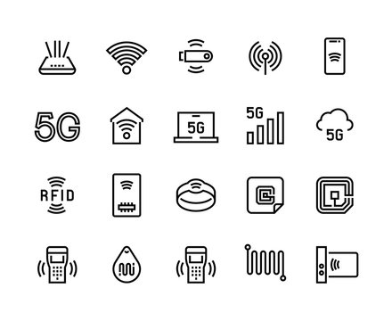 WiFi line icons. 5G Wireless technology and radio-frequency identification tags, WiFi router and electric circuit symbols. Vector set thin icon phone networks signals on white