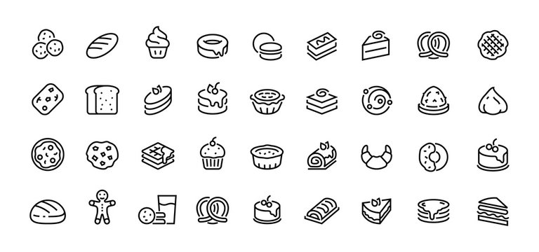 Bread line icons. Bakery and dessert with croissant muffin donut pizza sandwich cookies and cakes. Vector illustration sweet bakery linear symbols set on white