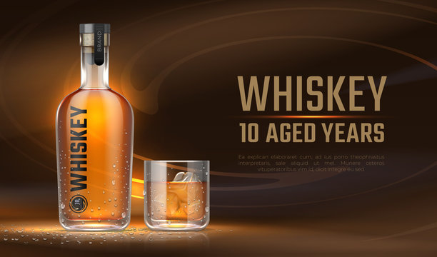 Whiskey ad. Realistic bottle with alcoholic beverage, advertisement banner with glass bottle mockup and liquid. Vector banner 3D alcoholic drink for advertising company or package label