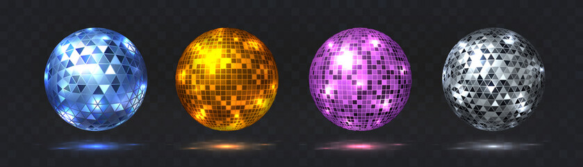 Disco balls. Night club party element with mirror surface, silver and golden dance club light effect. Vector retro futuristic technology 80s isolated glitter party spheres set