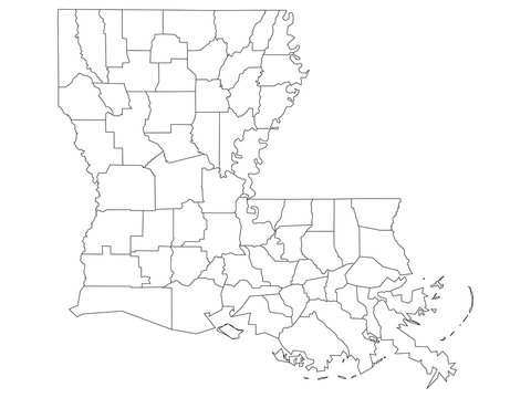 White Outline Counties Map of US State of Louisiana