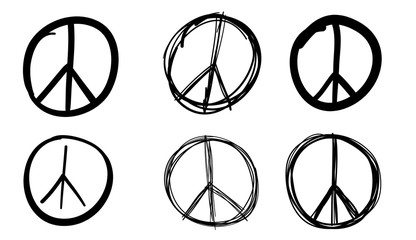 Peace sign set, vector illustration.