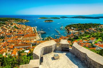 Wonderful Hvar resort cityscape with mediterranean harbor and boats, Croatia Fototapete