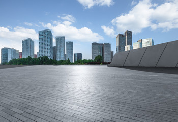Fotomurales - Empty city square road and modern business district office buildings in Beijing, China