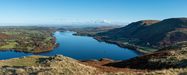 Door stickers Blue Beautiful Autumn Fall landscape of Ullswater and surrounding mountains and hills viewed from Hallin Fell on a crisp cold morning with majestic sunlgiht on the hillsides