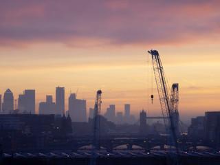 Door stickers Lavender Epic dawn sunrise landscape cityscape over London city sykline looking East along River Thames