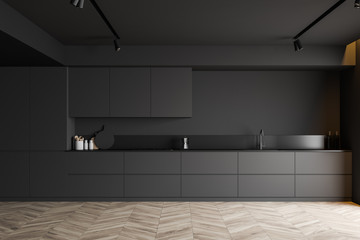 Minimalist gray kitchen interior with countertops