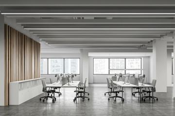 White and wooden open space office interior