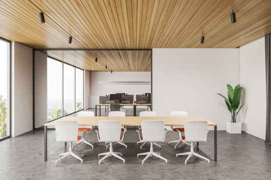 Panoramic white meeting room interior