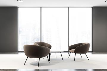 Panoramic gray office waiting room