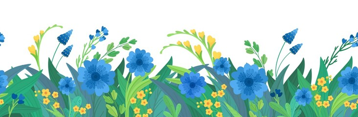 Floral  flat vector template horizontal background. Blue and yellow wildflowers blank border design. Cornflowers and daisy blossoms cartoon decor element Wall mural