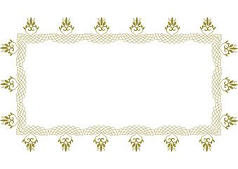 幾何学模様の金のハートフレームB