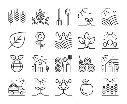 Farm icon. Agriculture and Farming line icons set. Editable stroke.