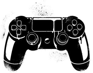 A Graffiti Stencil Illustration of a Game Controller