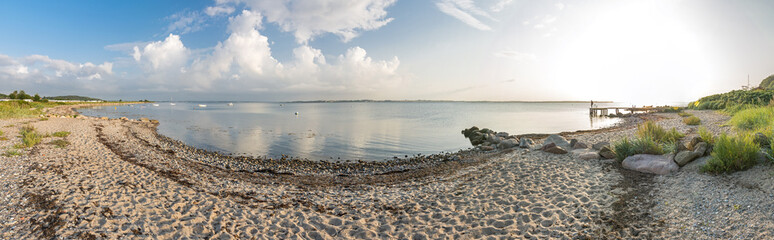 High resolution widescreen panorama shot of scenic beach and bay at the Baltic Sea in Northern Germany