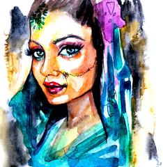 Donna indiana di profilo, illustrazione ad acquarello su sfondo bianco