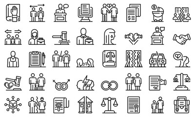 Divorce icons set. Outline set of divorce vector icons for web design isolated on white background