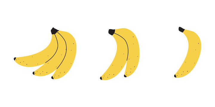 Set with banana fruit on a white background. Vector illustration for printing on fabric, tableware, packaging paper, postcard, Wallpaper. Cute children's background. Kitchen interior.