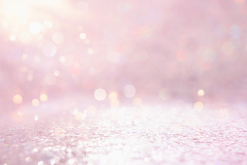 silver and pink glitter vintage lights background. defocused Fototapete
