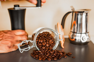 Closeup of fresh and organic coffee beans in the kitchen