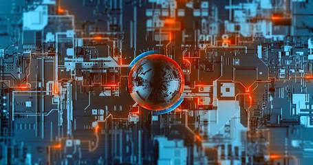 Digital nanotechnology, neural network, futuristic cryptocurrency CPU processor Wall mural