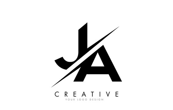 JA J A Letter Logo Design with a Creative Cut.
