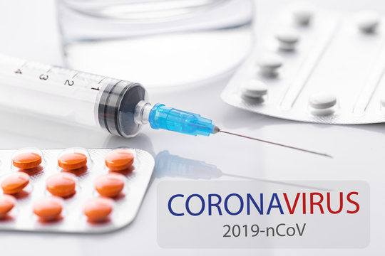 Coronavirus 2019-nCoV. Novel coronavirus, Middle East Respiratory Syndrome. Pills with CORONAVIRUS text. Chinese coronavirus outbreak. Virus Pandemic Protection Concept.