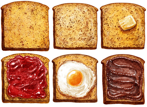 Toast with butter and jam, watercolor illustration, isolated on white