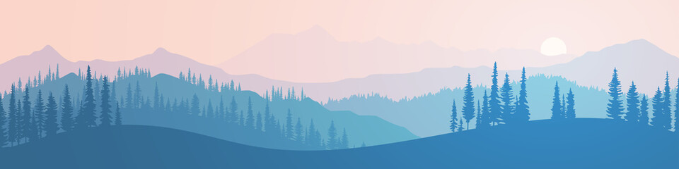 Vector illustration of mountains, ridge in the morning haze, panoramic view. Trees against the setting sun.