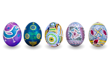 Several easter eggs isolated on a white background with shadows.