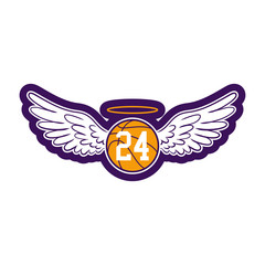 R.I.P. Kobe Bryant - Basketball with angel wings and glory. Sport legend, The world is in shock as news of Kobe Bryant's death spread 2020 january 26th. Kobe Bryant was 41.