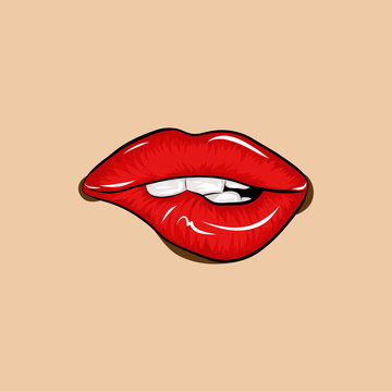 Bite sexy lips drawing - Red lips biting retro icon isolated on skin color background. Vector illustration. Sexy lips, bite one's lip, female lips with red lipstick.