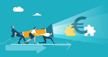 Business people illuminating with torch the euro currency. Finding solution, support and working together, Business professional world of advisory. Concept illustration