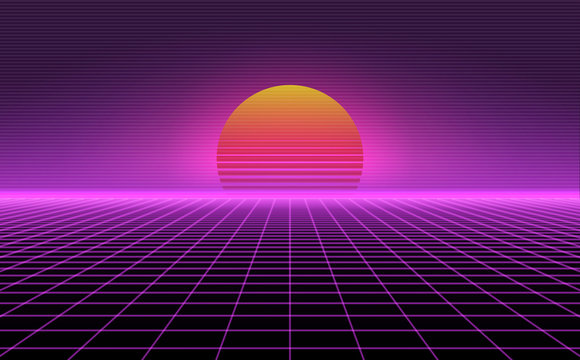Retro background futuristic landscape 1980s style. Vector perspective grid. 80s sci-fi or game style. Retro neon background with 80s styled laser grid.