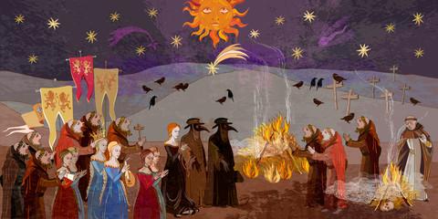 Terrible doctors. Medieval scene. Plague epidemic. World pestilence. Coronavirus art. Ancient book illustration. Middle Ages parchment style Fototapete