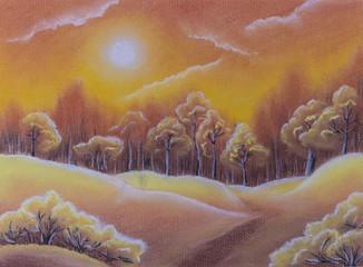 Illustration. Autumn forest sunset