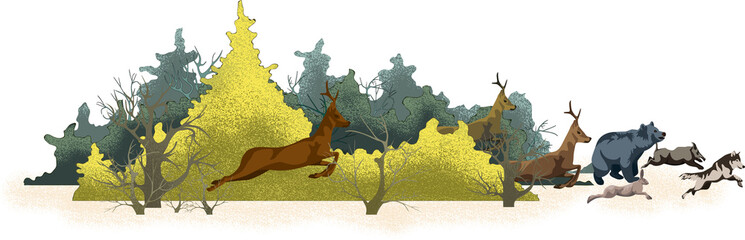 image of a forest and running animals from it. Concept of global deforestation and forest fire problems