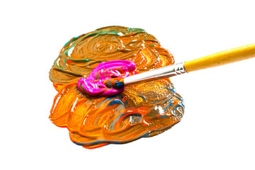 Paintbrush mixing Colors
