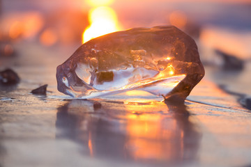 chunks of ice in the light of the setting sun