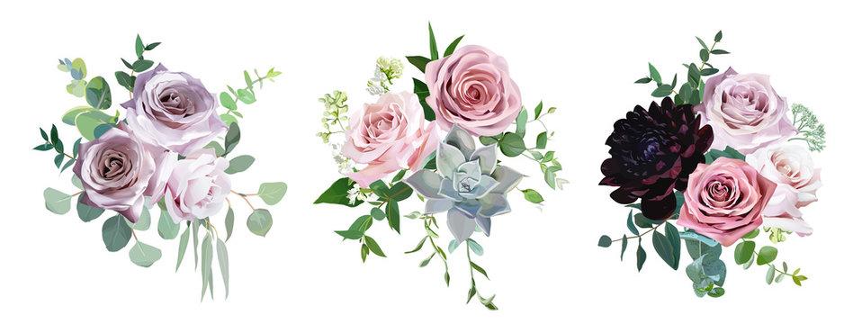 Dusty pink and mauve antique rose, pale flowers vector design wedding bouquets